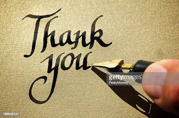 Thank You Message w Calligraphy Pen on Gold