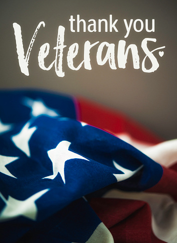 Thank you military veterans. Patriotc message with American flag 614117626