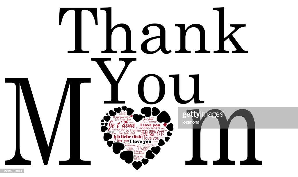 Obrigado, a sua mãe, as mães dia cartão : Foto de stock