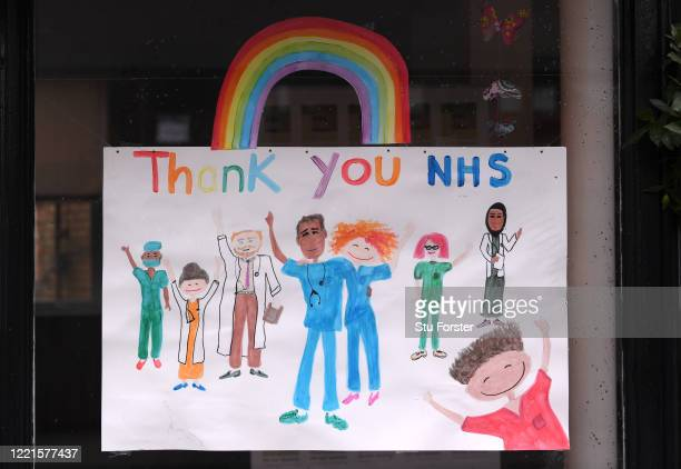 Thank You NHS' picture is seen in a shop window on April 28, 2020 in Penarth, Wales . British Prime Minister Boris Johnson, who returned to Downing...