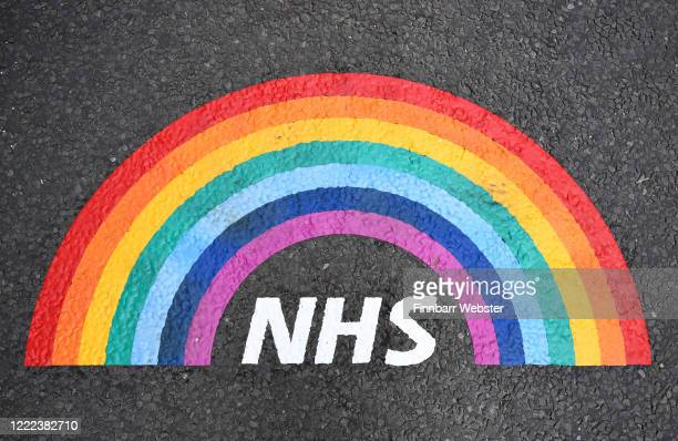Thank You NHS road markings painted, using donated materials, by Dorset County Council outside the entrance to Dorset County Hospital on May 02, 2020...