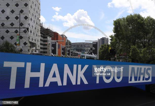 Thank you NHS sign at a deserted Wembley Park tube station close to Wembley stadium on what should have been FA Cup Final day on May 23, 2020 in...