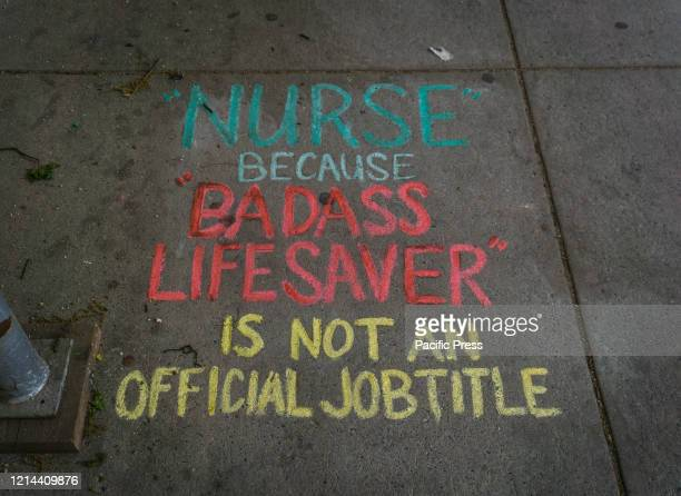 Thank you notes written in chalk on the sidewalk outside of Mount Sinai Morningside Hospital in Manhattan for nurses and health care workers.