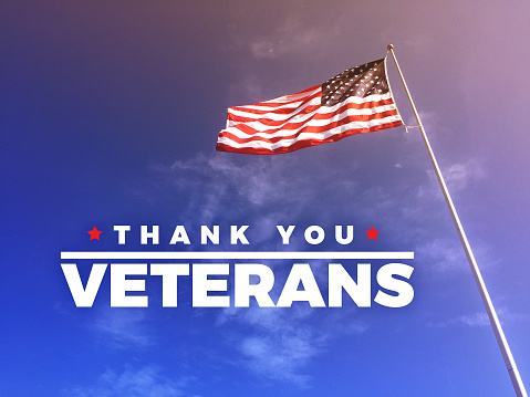 Thank You Veteran's Text with American Flag 862049194