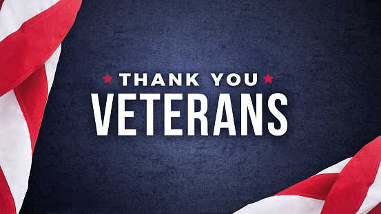 Thank You Veterans Text with American Flags Over Dark Blue Background 920193802