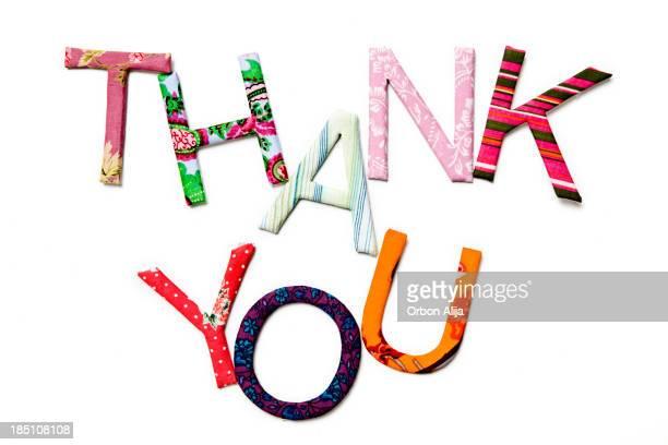 Thank you with textile alphabet