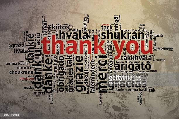 thank you word cloud on wall - gratitude stock pictures, royalty-free photos & images
