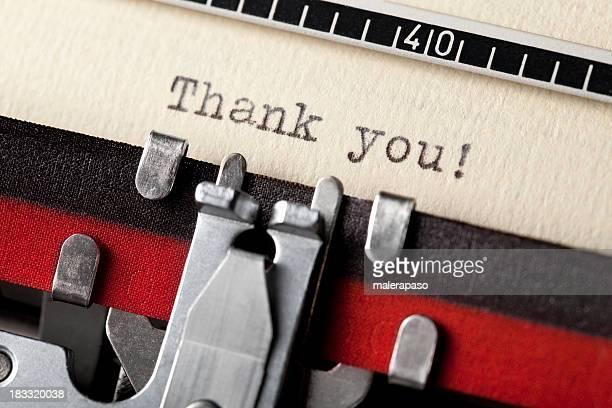Thank you written on an old typewriter