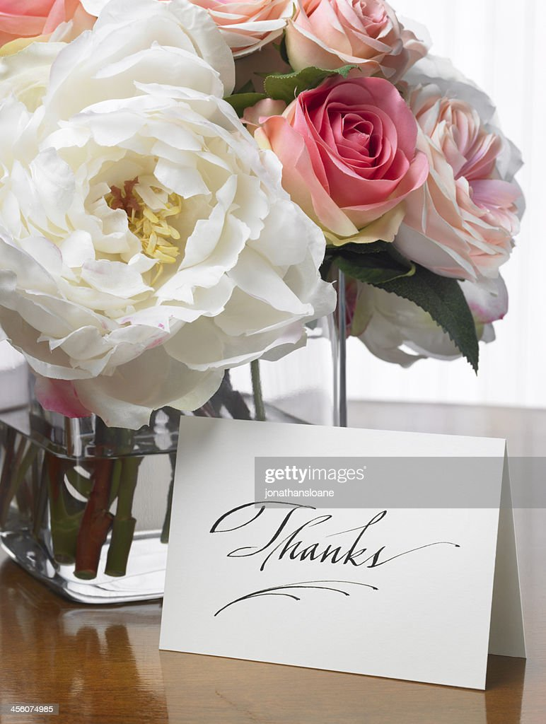 Thanks Card With Flower Bouquet Stock Photo | Getty Images