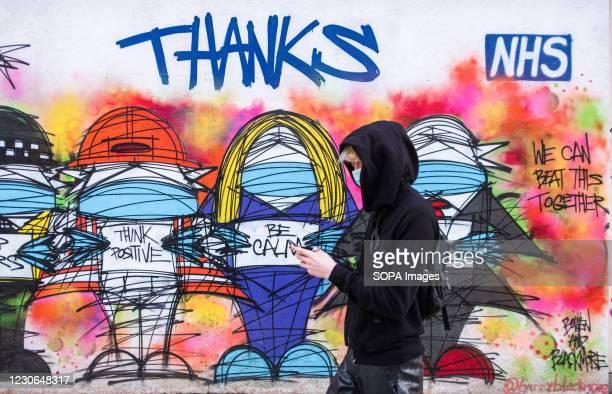 Thanks NHS' graffiti seen in London.