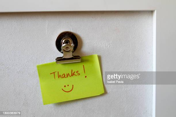 thanks sticky note on wall - thanks quotes stock pictures, royalty-free photos & images