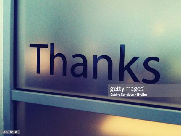 Thanks Text On Glass Door