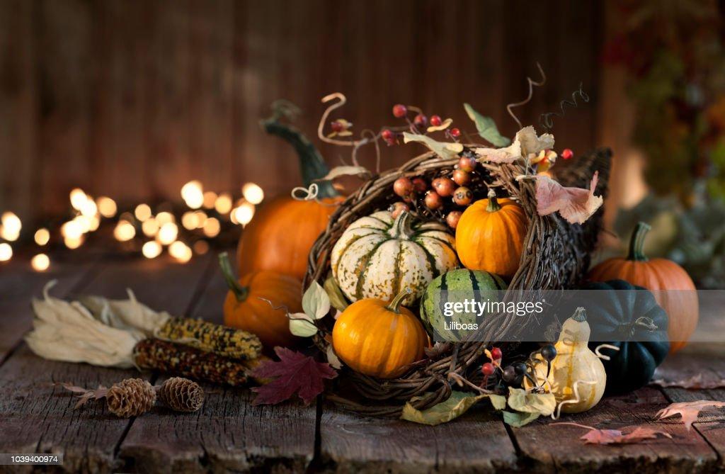 Thanksgiving autumn harvest pumpkin cornucopia : Stock Photo