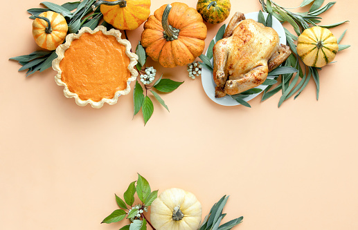 Thanksgiving card or invitation template with a copy space for a greeting text 1181876374