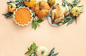 Thanksgiving card or invitation template with a copy space for a greeting text