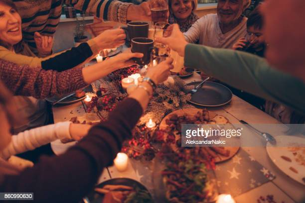 thanksgiving celebratory toast - thanksgiving dinner stock photos and pictures