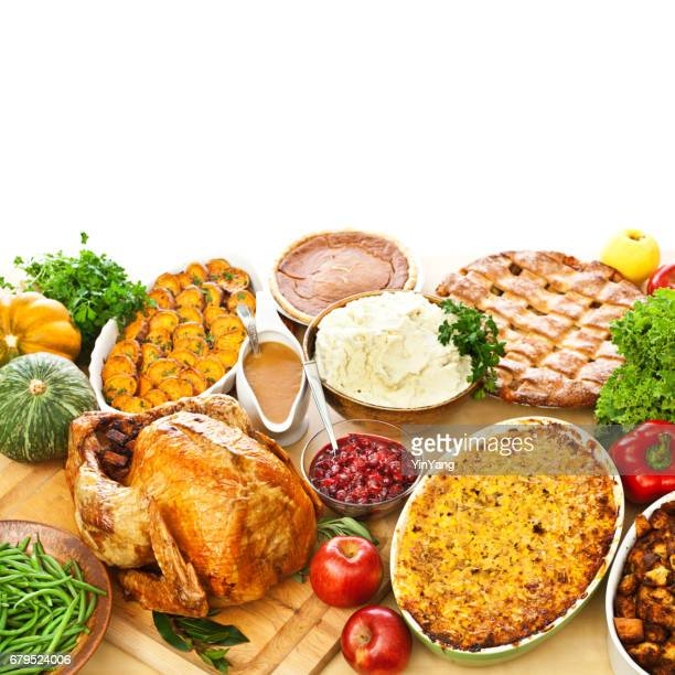 thanksgiving christmas roast turkey dinner with side dishes - spread food stock pictures, royalty-free photos & images