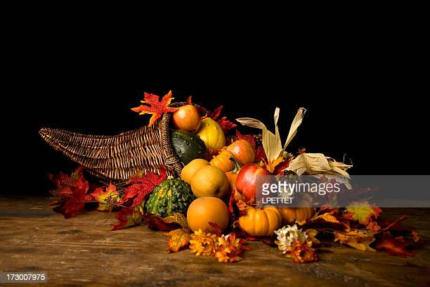 thanksgiving cornucopia - fall harvest stock pictures, royalty-free photos & images