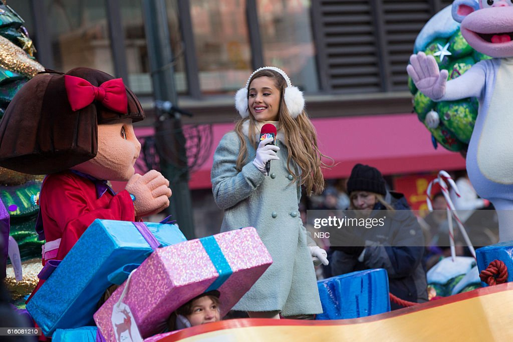 Ariana Grande performs with Dora the Explorer characters --