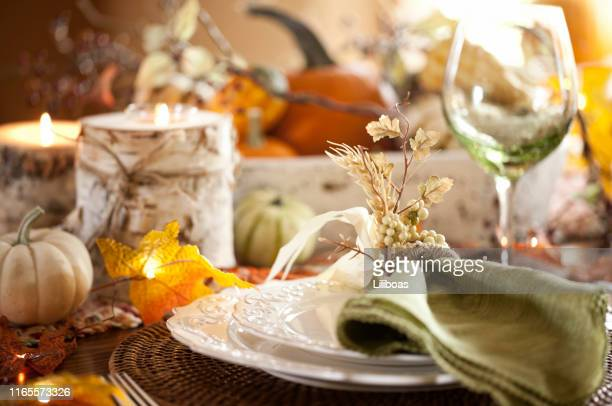 thanksgiving dining - autumn decoration stock pictures, royalty-free photos & images