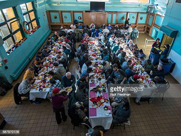 Thanksgiving dinner at Pine Street Inn, New England's largest homeless shelter in Boston, MA. On November 28, 2013. Pine St. Inn served dinner to...
