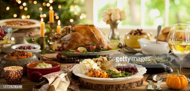 thanksgiving dinner table - turkey meat stock pictures, royalty-free photos & images