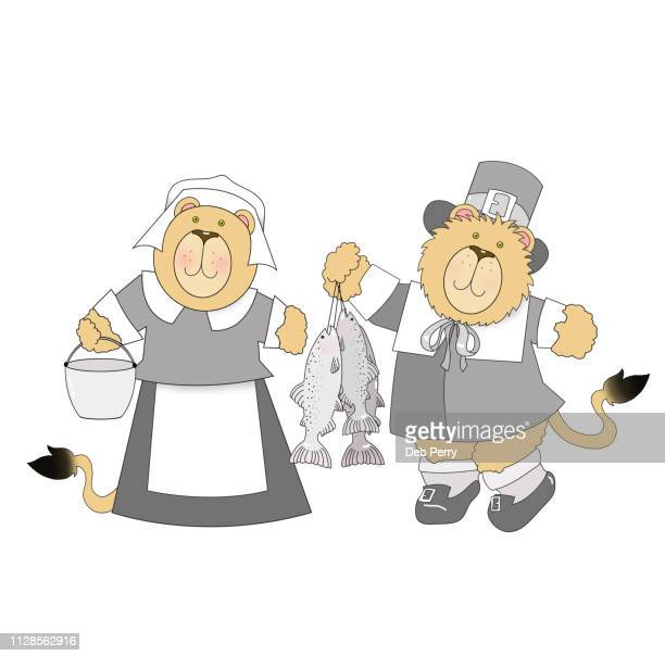thanksgiving illustration of a lion couple dressed as pilgrims against a white background - cartoon thanksgiving stock photos and pictures