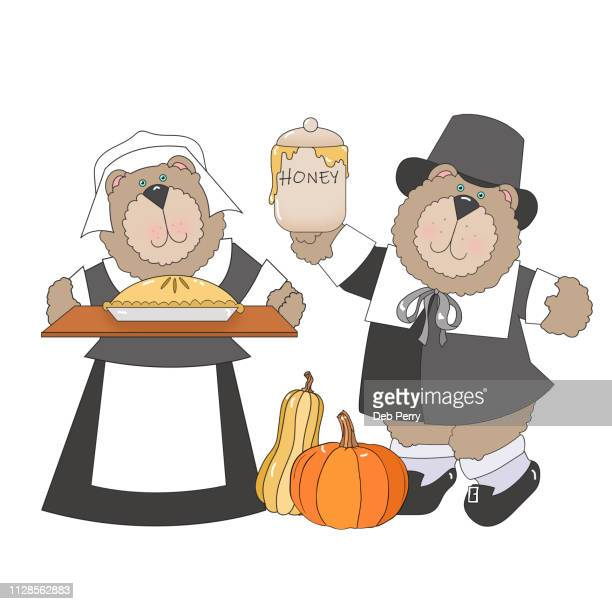 thanksgiving illustration of bears dressed as pilgrims against a white background - cartoon thanksgiving stock photos and pictures