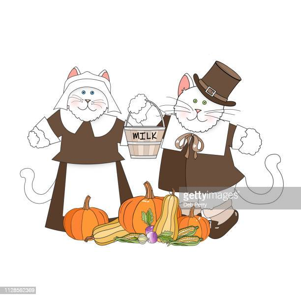 thanksgiving illustration of cats/kittens dressed as pilgrims against a white background - cartoon thanksgiving stock photos and pictures