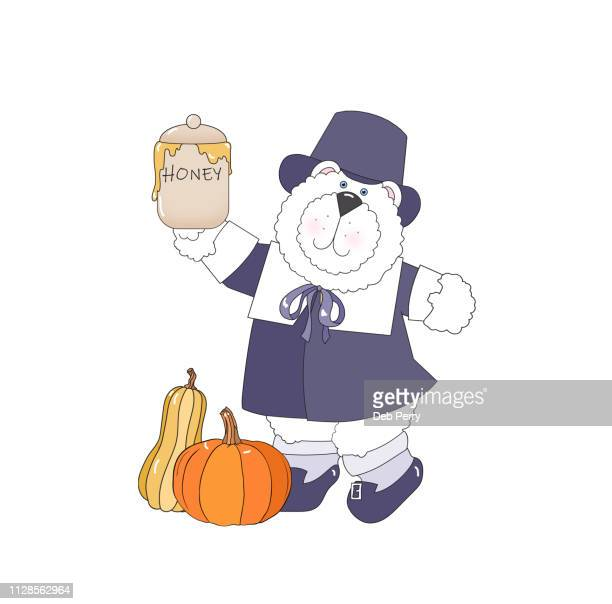 thanksgiving illustration of white bear pilgrim against a white background - cartoon thanksgiving stock photos and pictures