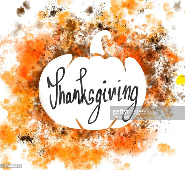 thanksgiving illustration pumpkin - happy thanksgiving card stock pictures, royalty-free photos & images