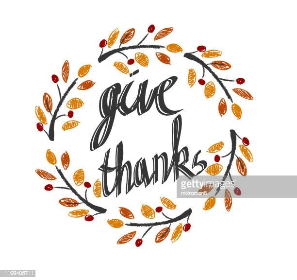 thanksgiving leaf in a circle shape illustration - cartoon thanksgiving stock photos and pictures