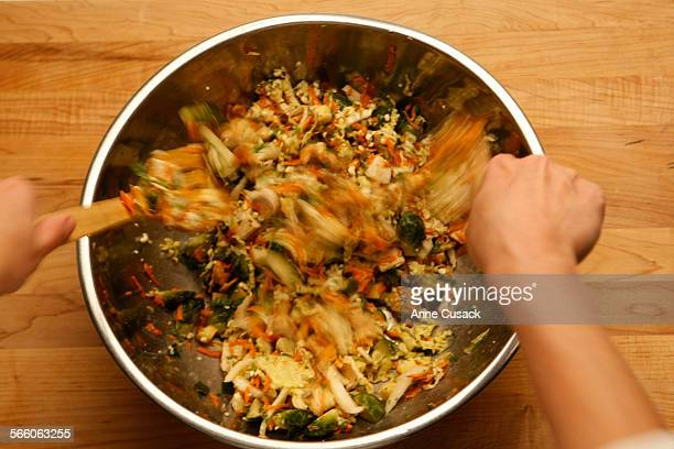 Thanksgiving leftovers Friday night salad with roasted cumin honey and lime dressing for food shoot in the Los Angeles Times via Getty Images studio...