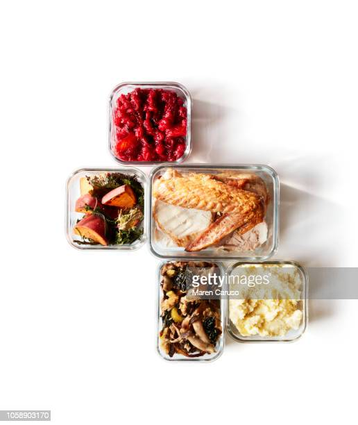 thanksgiving leftovers in containers - thanksgiving leftovers stock photos and pictures