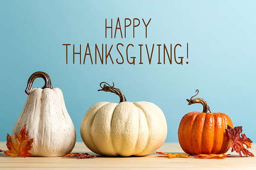 Thanksgiving message with pumpkins 1171174944