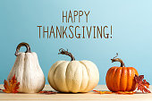Thanksgiving message with pumpkins