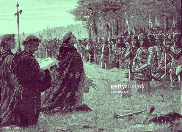 Thanksgiving service on the field of Agincourt after the Battle of Agincourt Friday 25 October 1415 During Hundred Years ' War After English victory...
