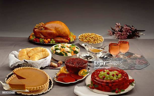 thanksgiving spread - cranberry sauce stock photos and pictures