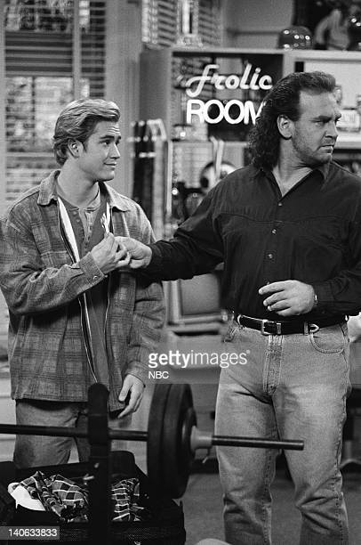 YEARS 'A Thanksgiving Story' Episode 11 Air Date Pictured MarkPaul Gosselaar as Zack Morris Bob Golic as Michael Rogers Photo by Chris Haston/NBCU...