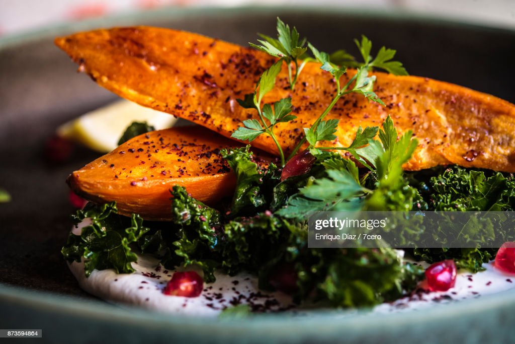 Thanksgiving Sweet Potato and Kale Close Up with Parsley : Stock Photo