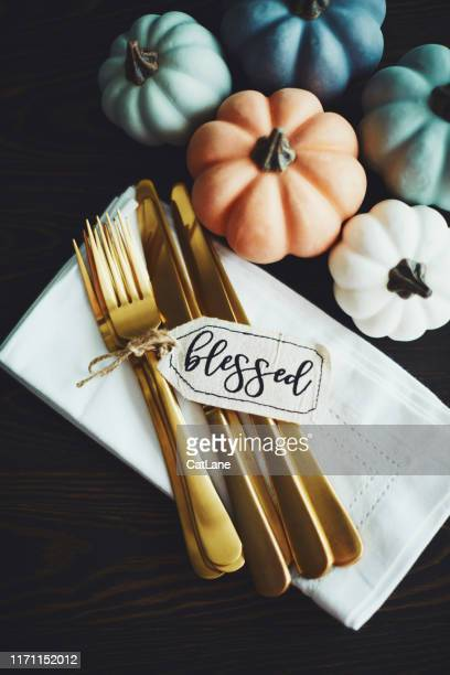 thanksgiving table setting background with pumpkins and gold cutlery - thanksgiving cat stock pictures, royalty-free photos & images