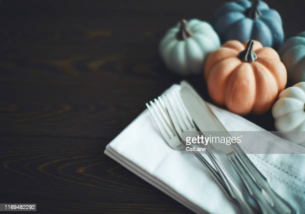 thanksgiving table setting background with pumpkins - thanksgiving cat stock pictures, royalty-free photos & images