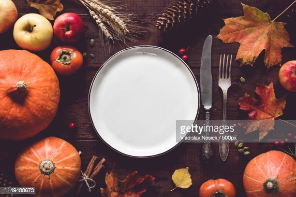 thanksgiving table setting - thanksgiving plate of food stock pictures, royalty-free photos & images