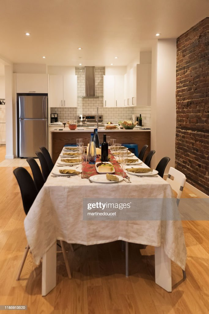Thanksgiving table without people : Stock Photo