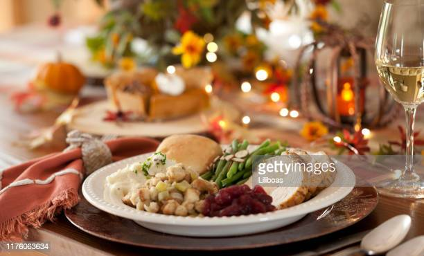 thanksgiving turkey dinner - turkey meat stock pictures, royalty-free photos & images