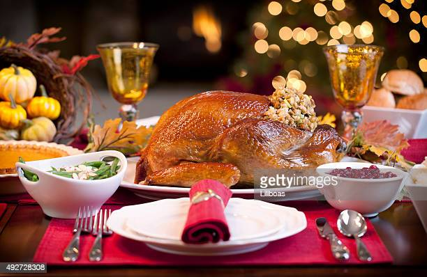 Thanksgiving turkey dinner with geen beans, mashed potatos and pumpkin pie.