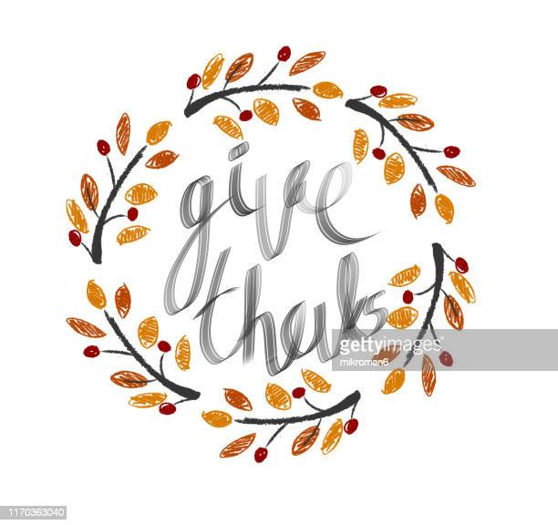 thanksgiving wishes in vines illustration - cartoon thanksgiving stock photos and pictures