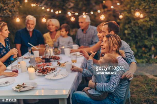 thanksgiving with family - outdoor party stock pictures, royalty-free photos & images
