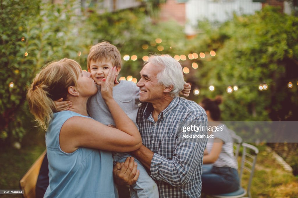 Thanksgiving with grandparents : Stock Photo