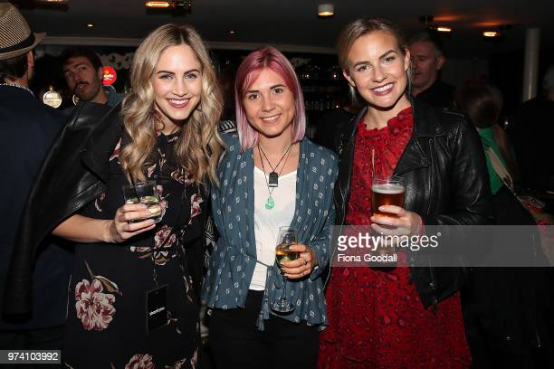 Thankyou cofounder Justine Flynn Georgina Roberts and Matilda Rice at the New Zealand launch of Thankyou at Everybody's on June 14 2018 in Auckland...
